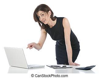 美しい, 女性実業家, 中に, 彼女, オフィス, 指摘, 何か, 上に, pc