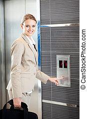 美しい, 女性実業家, 若い, エレベーター, 使うこと