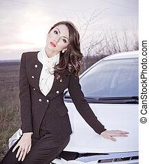 美しい, 女性, モデル 車