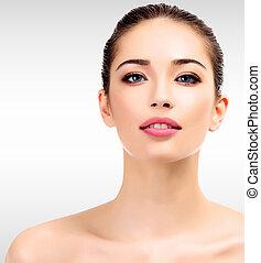 美しい, 女性, 若い, きれいにしなさい, 皮膚, 新たに