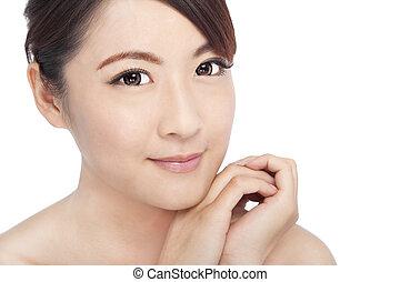 美しい, 女性, 若い, の上, アジア人, 終わり, 肖像画, 顔