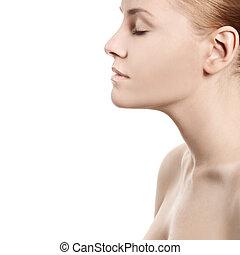 美しい, 女性, -, 隔離された, 顔, きれいにしなさい, 皮膚, 白