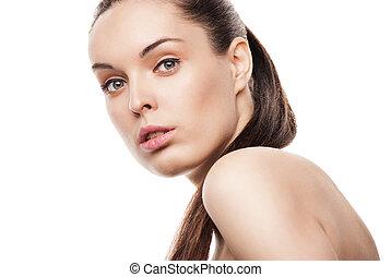 美しい, 女性, 顔, きれいにしなさい, 皮膚, 白