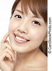 美しい, 女性, 顔, アジア人, きれいにしなさい, 皮膚, 新たに, 幸せ