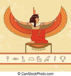 美しい, 女神, エジプト人, isis., アニメーション, 肖像画, woman.