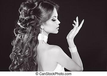 美しい, 女, ヘアスタイル, ブルネット, 写真, 魅力, ファッション, 黒, 肖像画, 白