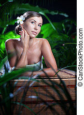 美しい, 女, 若い, 環境, 肖像画, エステ