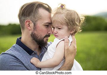 美しい, 娘, 父, 若い, 魅力的, 肖像画, よちよち歩きの子