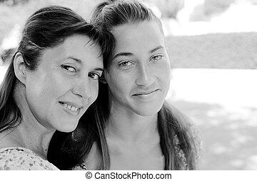 美しい, 娘, 45, 若い, 年, 母, 肖像画, 古い