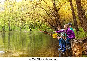 美しい, 子供, 一緒に, 釣り, 池, 幸せ