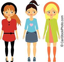 美しい, 子供, 流行, fashion., 女の子, 漫画, ふだん着