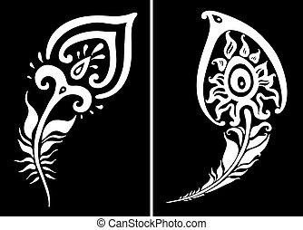 美しい, 孔雀, ベクトル, イラスト, feather.