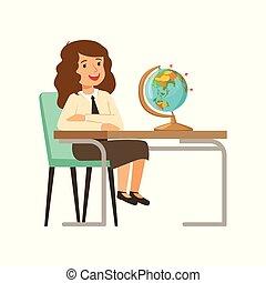 美しい, 学校, モデル, 教科書, 地球, 特徴, イラスト, ユニフォーム, ベクトル, 机, 女の子