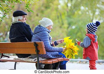 美しい, 孫, 祖父母, 公園, 秋, 楽しむ, 日
