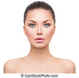 美しい, 完全な皮, きれいにしなさい, エステ, 新たに, モデル, 女の子
