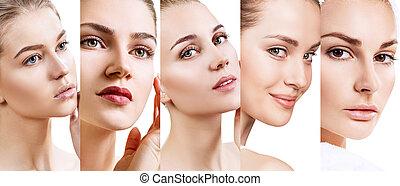 美しい, 完全, コラージュ, skin., 女性
