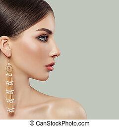 美しい, 完全, ファッション, 宝石類, face., 女, portrait., 女性, 女の子, プロフィール