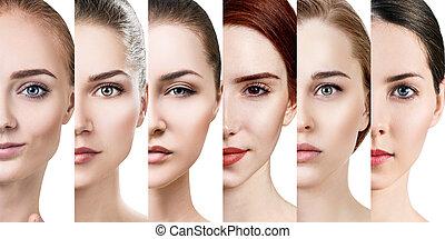 美しい, 完全, 別, コラージュ, skin., 女性