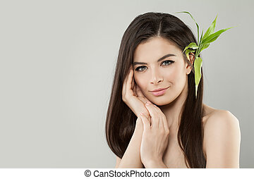 美しい, 完全, 女, 健康, leaves., 毛, 緑, 皮膚, 新たに, 竹
