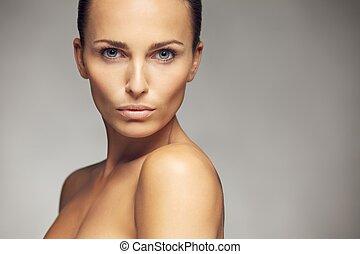 美しい, 完全, 女, 新たに, 皮膚
