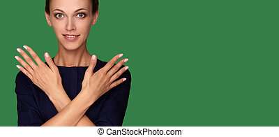 美しい, 完全, 女, 爪, 若い, きれいにしなさい, 皮膚