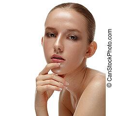 美しい, 完全, 女, 美しさ, 彼女, face., 隔離された, 青年, バックグラウンド。, skin., 概念, portrait., model., 純粋, 皮膚, 新たに, 白, 感動的である, 心配