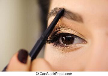 美しい, 完全, 女, 美しさ, detail., ペンキ, face., 構造, skin., ブルネット, 女の子, eyebrows.