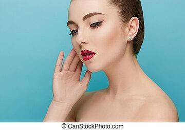 美しい, 完全, 女, 美しさ, face., makeup., ファッション
