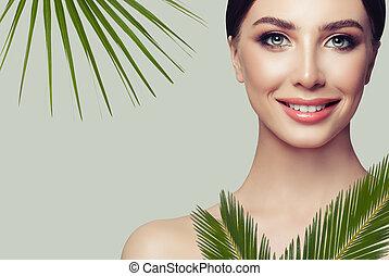 美しい, 完全, 女, 自然の美しさ, エステ, leaves., 新たに, 緑, 皮膚, portrait.