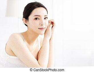 美しい, 完全, 女, 若い, きれいにしなさい, 皮膚