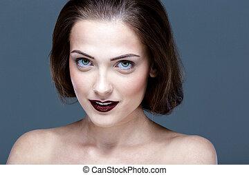 美しい, 完全, 女, 若い, クローズアップ, 皮膚, 肖像画