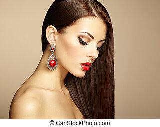 美しい, 完全, 女, earring., 写真, makeup., ファッション, ブルネット, 肖像画