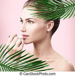 美しい, 完全, 女, leaves., やし, 皮膚
