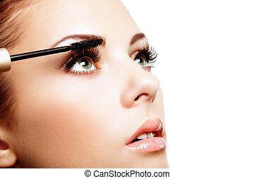 美しい, 完全, face., 女性 化粧