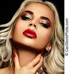 美しい, 完全, look.glamor, ファッション, きれいにしなさい, 流行, 唇, 構造, 若い, モデル, 高く, 明るい, 女, クローズアップ, ブロンド, 皮膚, 肖像画, セクシー, コーカサス人, 赤