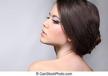 美しい, 官能性, 若い, きれいにしなさい, 皮膚, 女性
