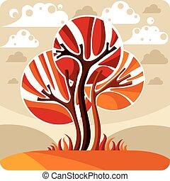 美しい, 定型, 牧草地, のどかな, 芸術, eco, 季節, イメージ, 洞察力, 木, イラスト, clouds., 秋, 考え, ベクトル, picture., 時間, 成長する, 妖精, 風景