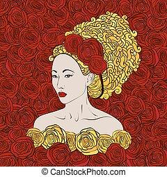 美しい, 定型, 金, 芸者, イラスト, 毛, ばら, ベクトル, 女の子, 赤