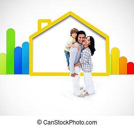 美しい, 家族, 地位, ∥で∥, a, 黄色の家, イラスト, ∥で∥, エネルギー, 評価, シンボル, 上に, ∥, 白い背景