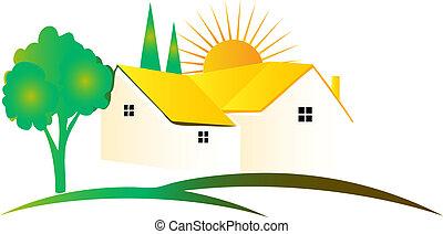 美しい, 家, ロゴ