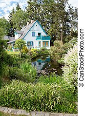美しい, 家, 庭, 春