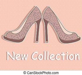 美しい, 対, 靴, 女性