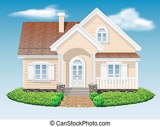 美しい, 小さい, 住宅の, 家