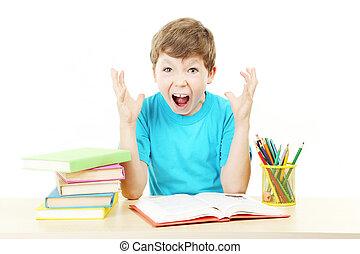 美しい, 小さい 男の子, 勉強, 隔離された, 白