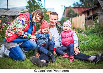 美しい, 屋外, 家族, 恋人, 公園, 幼児, ∥(彼・それ)ら∥, 楽しい時を 過しなさい, nature., 幸福, 幸せ