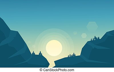 美しい, 山の景色, 日の出
