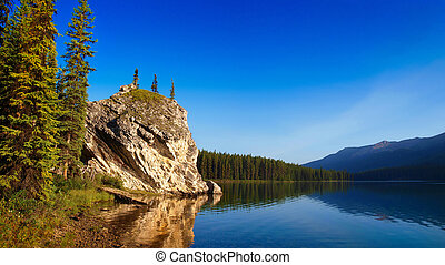 美しい, 山湖, 碧玉, 夜明け, 風景