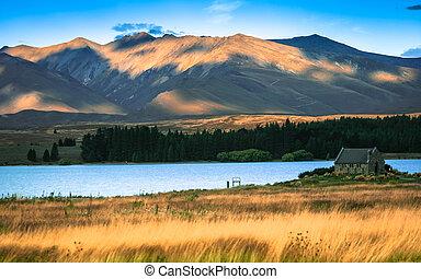 美しい, 山, よい, zealand, shepard, tekapo, 湖, 背景, 教会, 新しい