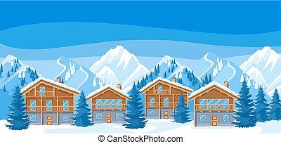 美しい, 山, シャレー, illustration., 雪が多い, 冬, houses., リゾート, 森林, モミ, 風景, 高山