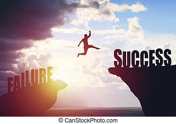 美しい, 山, シルエット, 成功, ビジネス, テキスト, 上に, ジャンプ, 背景, 人, 光景